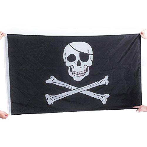 Foto de Bandera pirata del cráneo de la bandera de piratas Jolly Roger Colgante con ojal para la decoración