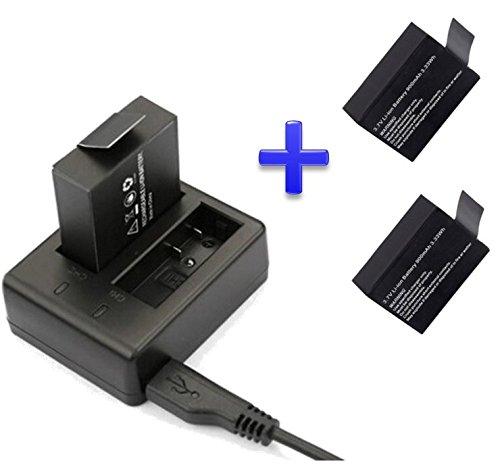 Cargador Externo doble para batería cámara deportiva Sport Cam SJCAM SJ4000 / SJ5000 M10 + 2 baterías de reemplazo de 900mah (1.5 horas de grabación aprox).