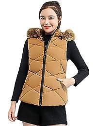 KingProst Wintermantel Damen Warm Winter Westen Mit Pelz Jacken Steppweste  Outdoor Weste Mit Kapuze Freizeitjacke Outwear d03c497c7e