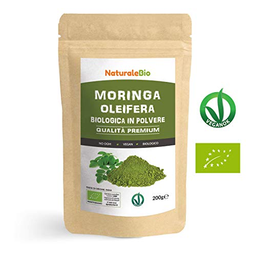 Moringa Oleifera Bio in Polvere [ Qualità Premium ] 200g. 100% Biologica, Naturale e Pura. Foglie Raccolte dalla Pianta di Moringa Oleifera. Superfood Ricco di Antiossidanti e Nutrienti. NaturaleBio