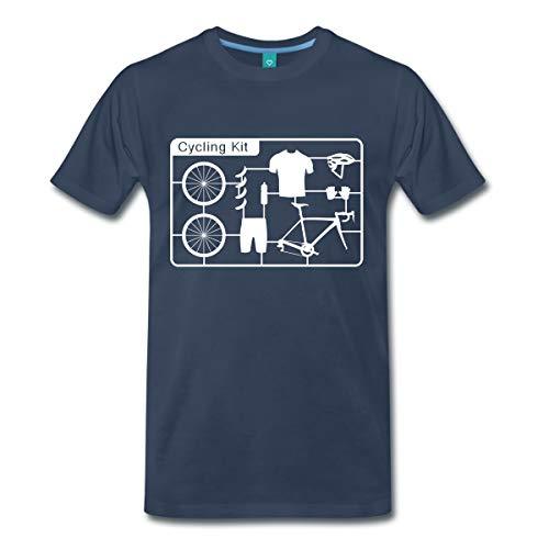 Spreadshirt Rennrad Komponenten Outfit Fahrrad Kit Männer Premium T-Shirt, S, Navy
