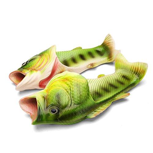 Butterme Unisex Anti Skid Fisch Tier Hausschuhe, Kinder/Erwachsene, 44/45 (Herren Fisch)