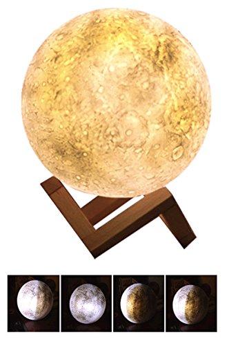 DAX 5Zoll/14cm metrisch 3d große LED Licht der Mond, lunar-, berührungsempfindliche Steuerung, Lade USB Nachtlicht Gelb & Weiß für Kinder, Deko Haus Geschenk von Weihnachten 14cm - con Ombra di luna (Regal Adapter)