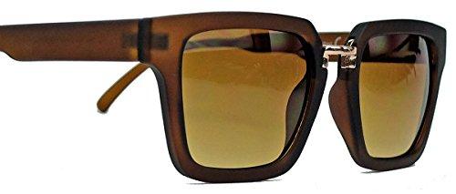 (60er Jahre Styler : Herren Retro Sonnenbrille trapezförmig Flat Top Rahmen TR30 (Braun matt))