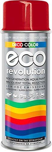 Deco Farbe Eco Revolution auf Wasserbasis Acryl Spray. 28 Farben aus der RAL-Palette styropor Stoffe Blumen empfindliche Materialien Art Decor Craft DIY (RAL 3000 Feuerrot GLANZ)