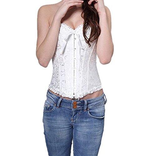 PhilaeEC Frauen Bridal Wäsche schnürt sich oben Satin ohne Knochen Korsett mit G-Schnur (Weiß, 4XL) - 6