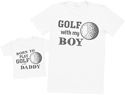 Born To Play Golf With Daddy - Passende Vater Baby Geschenkset - Herren T-Shirt & Baby T-Shirt / Baby Top - Weiß - X-Large & 3-6 Monate (Shirt Vater Golf)