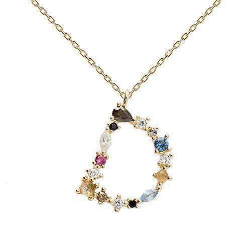 P D PAOLA - BUCHSTABEN D HALSKETTEN - 925er Sterlingsilber 18k-Vergoldung - Damenschmuck (Brief Halskette)