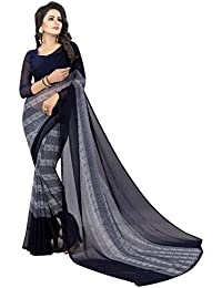 Krishna Emporia Women's Chiffon Saree With Blouse Piece (Krishna Emporia Okhi Saree 636_Blue)