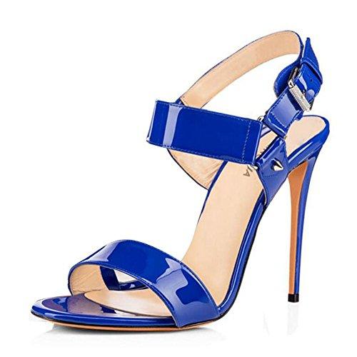 L@YC Sandali Con Fibbia In Pelle Di Brevetto Degli alti Talloni Delle Donne Rosso / Blu / Nero / albicocca Blue