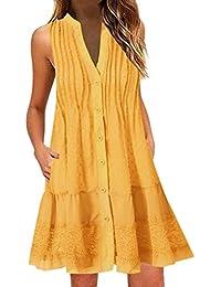 Vestidos Cortos Playa Mujer SUNNSEAN Vestidos Casual Tallas Grandes Blusas Elegantes Boho Liso Cuello V Vestidos sin Manga Mini Falda Moda Playeros Verano Vestidos Cortos Traje de Vestir