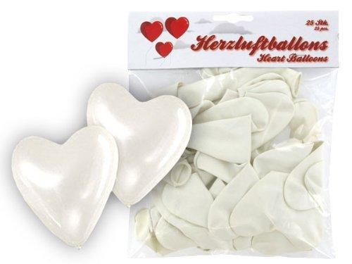 Alsino Set de Globos de Forma de corazón 25Unidades de reequipamiento Blanco Boda Ceremonia Boda Fiesta Evento cumpleaños decoración romántico Amor San Valentín