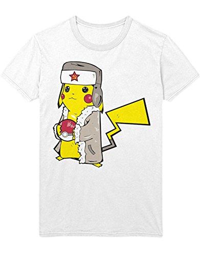 T-Shirt Poke Communist Pika C112268 Weiß M (Pokemon X Und Y Ash Ketchum Kostüm)