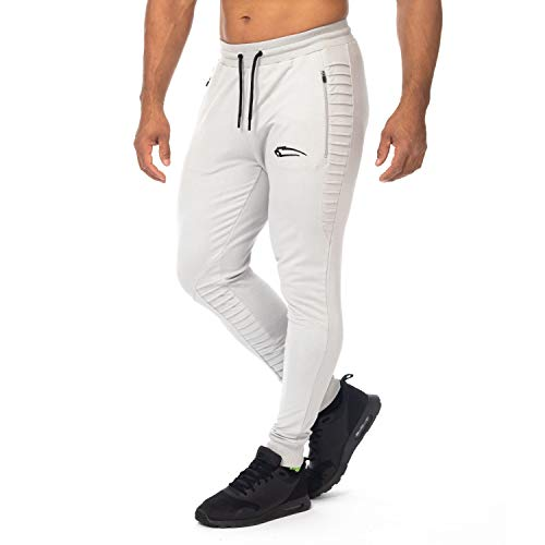 SMILODOX Herren Jogginghose Herren 'Passion'| Trainingshose für Sport Fitness Gym Training & Freizeit | Sporthose - Jogger Pants - Sweatpants Hosen - Freizeithose Lang, Farbe:Grau, Größe:L