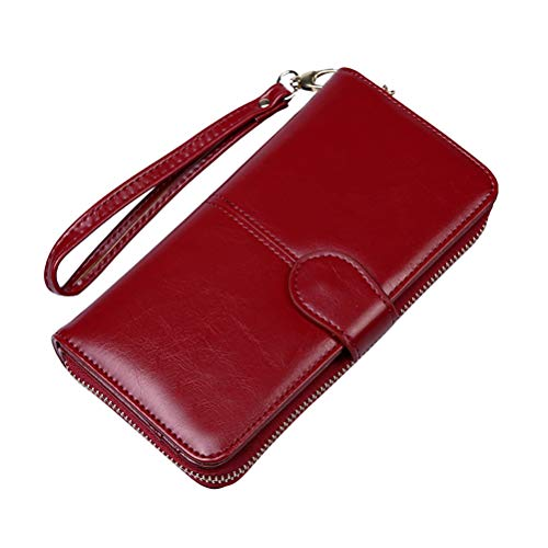 Multi-Function Retro Oil Wax Leather Wallet Long Paragraph Oil Skin Coin Clip Mobile Phone Bag Large Capacity Bag Retro Women Purse(Wine Red)