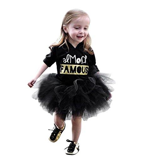 erDose Nette Kleinkind Kinder Baby Mädchen Brief Drucken Prinzessin Tutu Kleid Ballkleid Outfits Kleidung (12 Monate,Schwarz) (Schneewittchen Tutu)