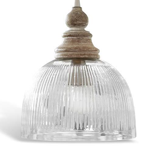 Loberon Hängelampe Lezáun, Mangoholz, Glas, H/Ø 29/26 cm, klar, E27, max. 40 Watt, A++ bis E