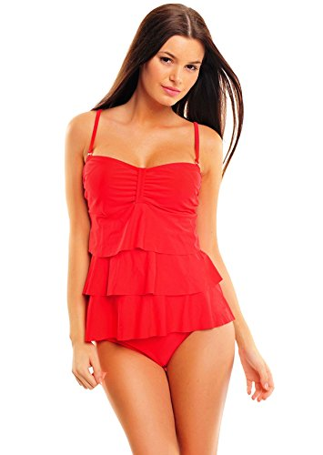 Figuroptimizer Push Up Damen Tankini Designed by Octopus, Badeanzug, verschiedene Design´s/ Farben 1082S40-1106S-f3659 Badeanzug Rot \\Red Kiss 1100
