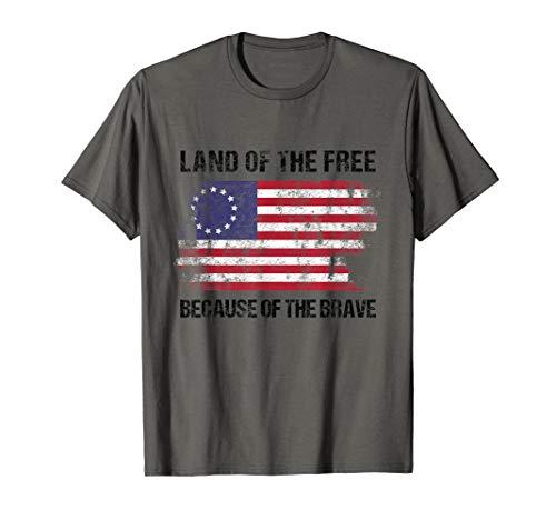 Land Der Freien Patriotisch Zitat Jahrgang Betsy Ross Flagge T-Shirt