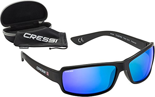 Cressi ninja occhiali sportivi da sole polarizzati con protezione uv 100%, galleggiante, nero/specchio lenti blu