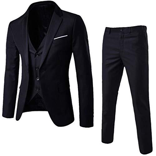 Chaqueta de Traje Casual de Negocios para Hombre, Slim Fit Conjunto de 3 Piezas, Chaleco y Pantalón de Fiesta de Boda de Negocios (S, Negro)