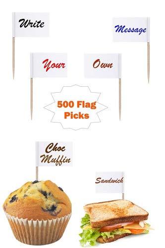 500Weiß Flagge Picks Schreiben auf/Farbgebung Sandwich/Lebensmittel/Cup Cake Canapés Flagge auf eigene Botschaft Party BBQ Cocktail Stick
