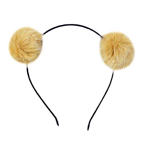 Vikenner Haarreif Kinder Stirnband mit Haarkugel Haar Schmuck für Cosplay Party Geburtstagsfeier Katzenohren Schwarz Haarband Kopfschmuck Gelb