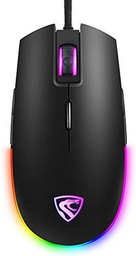 RGB Gaming Maus schnurgebunden LED Mäuse, hcman Atmen Hintergrundbeleuchtung USB Optische Maus mit 5000DPI Programmierbare 8Tasten, PC Computer Laptop Maus für PC & Mac Gamer (Schwarz) (Maus Notebook Microsoft 5000)