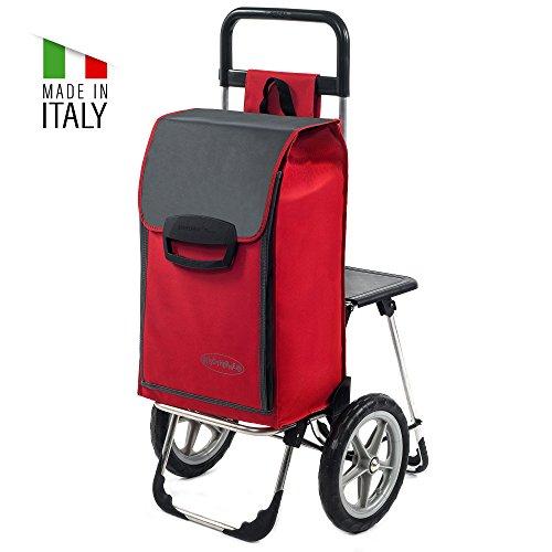 Einkaufstrolley Fajena mit Klappsitz & Kühlfach in rot mit 65L - Einkaufsroller Trolley bis 50kg belastbar mit großen flüster Rädern