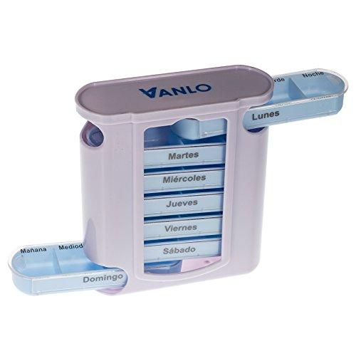 41qd00GBowL - Pastillero en torre con divisiones por días de la semana y 4 compartimentos en cada una, en español
