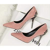 LIANGXIE Los Solos Zapatos friegan los Zapatos de la Boda Zapatos Nupciales Rojos Zapatos de tacón Alto Suede Metal, Damas de Honor, colocación de la Moda. Nueve Colores