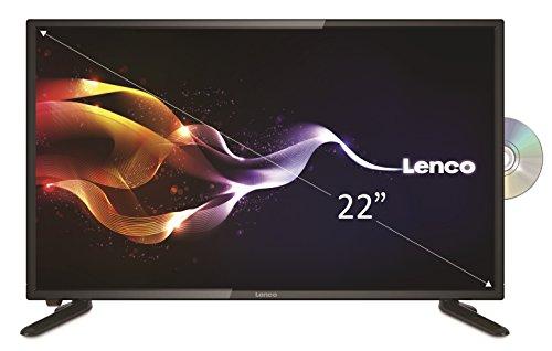 Lenco DVBT2 Fernseher DVL-2261 TV 22 Zoll (55 cm) Full HD LED mit DVD-player und 12 Volt Kfz-Adapter