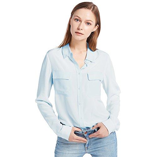 LILYSILK Chemise Femme Chic Soie Naturelle Chemisier Classique Top à Manches Longues Casual Shirt Blouse Chic Été 18 Momme LILYSILK