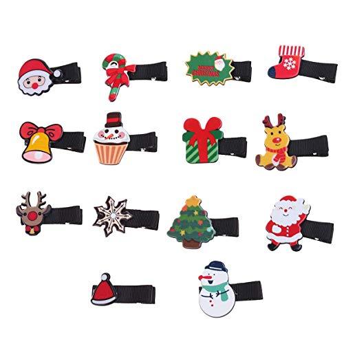 Frcolor Kinder Haarspangen Weihnachtsmann Schneemann Weihnachtsschmuck Haarschmuck 14 Stück