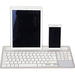 2-Channel Universal Bluetooth Wireless Rechargeable Slot Keyboard for Windows Android IOS Gold