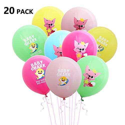 Yibaision Baby Shark Luftballons Party Supplies Geburtstag Dekorationen Shark Latex Luftballons FüR Junge MäDchen Kinder Geburtstag Baby Duschen (20Er Pack, Mischfarbe)