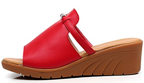 Easemax Femme Mode Bout Ouvert A Enfiler Mules Rouge