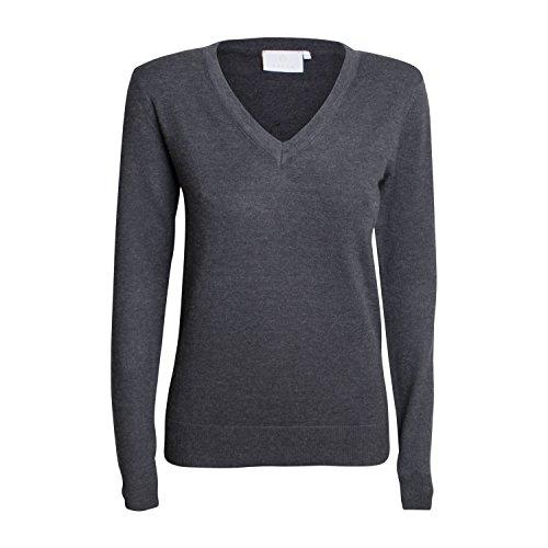 Damen Pullover Tina - von Kaffe - Farbe Dark grey melange (M) (Bestickt Anzug Wolle)
