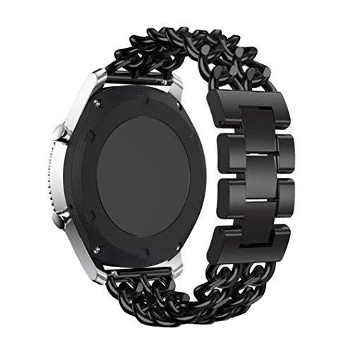 Samsung Gear S3 Frontier / S3 Classic Uhr Armband, CICIYONER 1 PC Bunte Fine Woven Nylon verstellbaren Sport Ersatz Band Strap (Schwarz, Samsung Gear S3 Band)