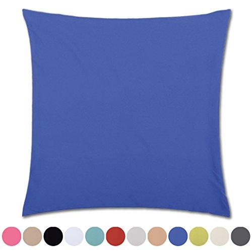Bestlivings Kissenhülle Microsatin in Trendfarben Satinoptik mit Reißverschluß Auswahl: Blau - Mittelblau ca. 50cm x 50cm