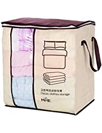 Blanket Organiser Bag Folding Storage Containers with Zip for Clothes Comforters (Concise Style)