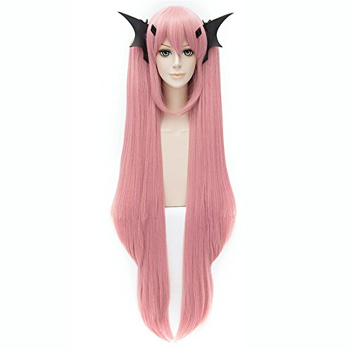 LanTing Cosplay Perücke Seraph Of The End Krul Tepes Pink Lange Perücke Styled Frauen Cosplay Party Fashion Anime Human Costume Full wigs Synthetic Haar Heat Resistant (Krul Tepes Kostüm)
