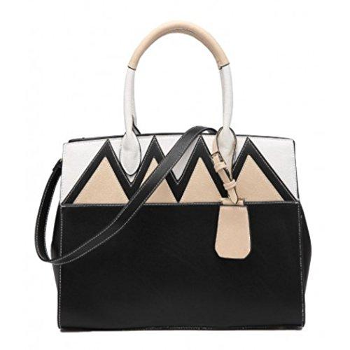 LeahWard Große Taschen für Frauen Qualität Faux Leder Schultertaschen Taschen für die Schule CW0155 (Braun Mit Charme) Schwarz Wave Tote