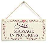 "Cheyan Shhh Massage in Progress Hanging Privacy Quiet Please Salon Sign 10""x5"""