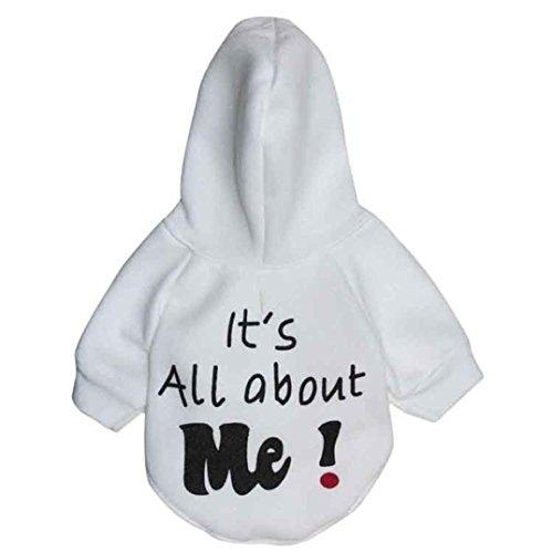 shirt, Hmeng Weiche Warme Flanell Haustier Kleidung Schnitt Brief Drucken Hund Pullover Welp (XS, Weiß) (Halloween-kostüme Für Mops Hunde)