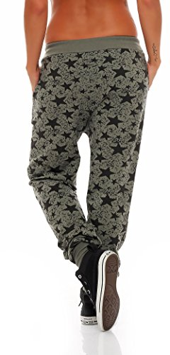 malito Damen Sweathose mit Star Print   Baggy zum Tanzen   Jogginghose mit Knopfleiste   Sweatpants