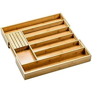 Homex Besteckkasten Aus 100% Bambus, Größenverstellbarer Schubladen Einsatz,  Besteckeinsatz Mit Praktischem MESSERBLOCK