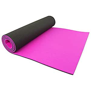 GOFLX Yoga Mat, 8482; Gym Pilates Exercise Mat Rug with Carry Case Bag (Pink & Black) - Extra Thick 8mm - Non-Slip & Cushioned