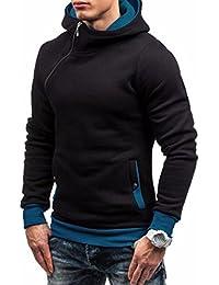 Camiseta de invierno, RETUROM Nuevo estilo de invierno manga larga cremallera de los hombres con capucha Tops sudadera