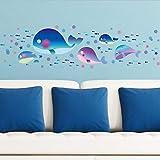 Namefeng Cartoon Blue Whale Wandaufkleber Nette Fische Im Meer Kinderzimmer Wandaufkleber Für Kinderzimmer Badezimmer Aufkleber Wanddekor